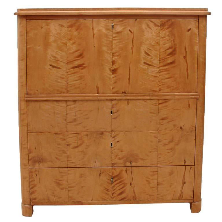 Swedish Biedermeier Fall-Front Secretary with Three Drawers in Birch, circa 1830