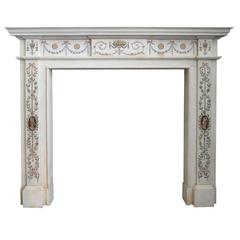 White Marble Fireplace Mantel in the Manner of Pietro Bossi