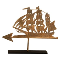 19th Century Painted Ship Weathervane on Iron Stand