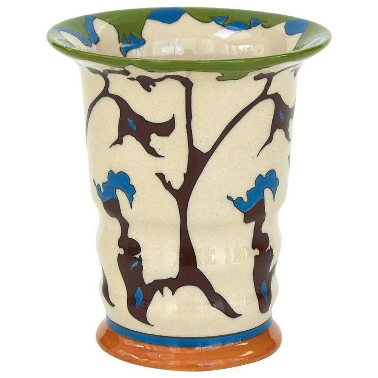 """Theo Colenbrander Art Deco Vase for Ram Pottery, Decor Rank """"Tendril,"""" 1923"""
