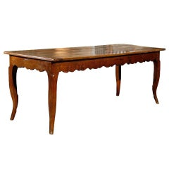 French Fruitwood 19th Century Farm Dining Table with Cabriole Legs
