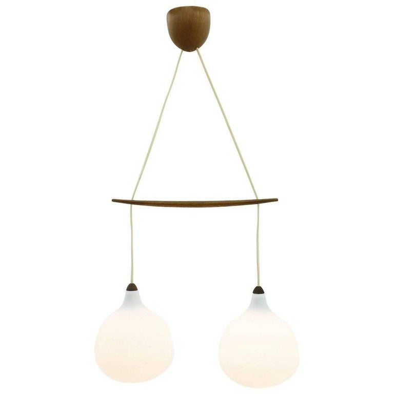 Luxus Glass and Teak Lamp by Uno & Osten Kristiansson, Sweden, 1960s