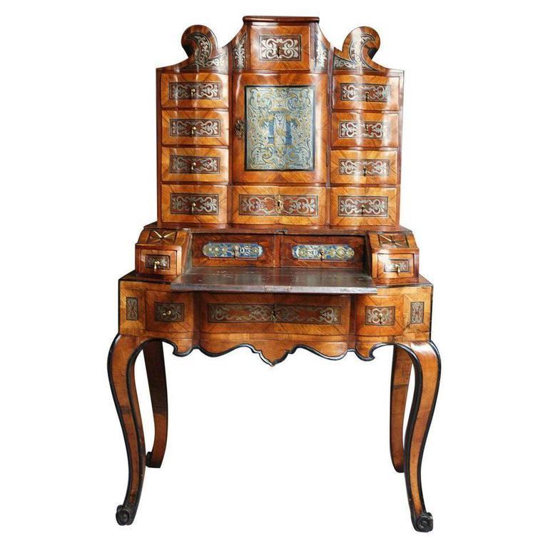South German 18th Century Walnut Bureau-Cabinet on Stand