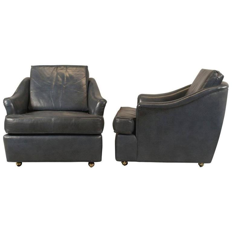 Pair of Leather Club Chairs by Edward Wormley for Dunbar