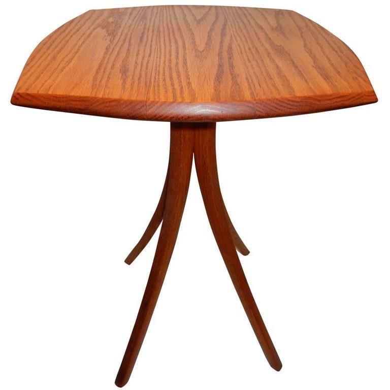 Vintage David N. Ebner Red Oak Side Table For Sale