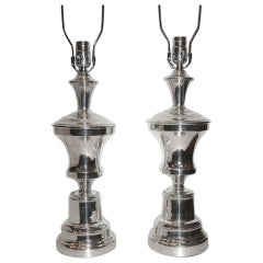 Pair of Silver Plated Table Lamps