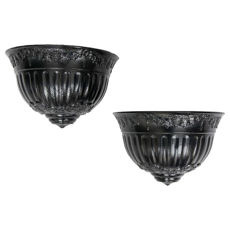 English Regency Period PAIR of Wall Planters Cast Iron with good detail, Ca 1820