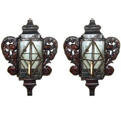 Venetian Red Painted Tole Sconces