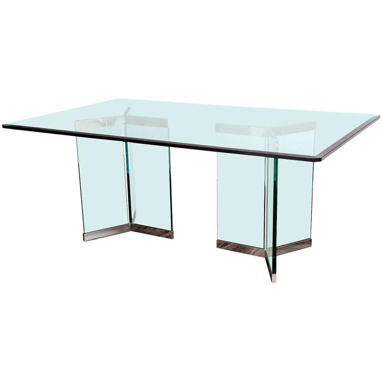 Leon Rosen, Pace Collection Rectangular Polished Chrome And Glass Dining  Table For Sale