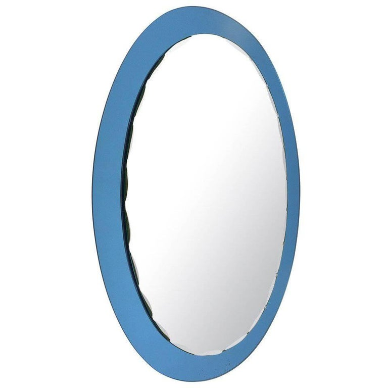 Blue Oval Scalloped Crystal Arte Wall Mirror, Italy, 1960s For Sale