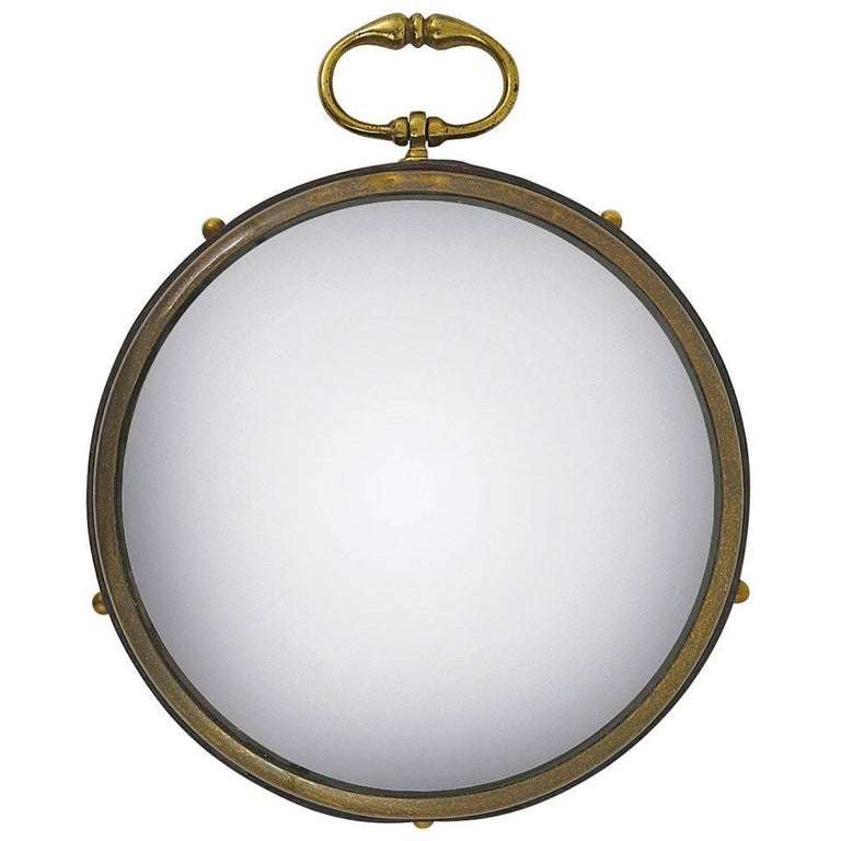 French Round Convex Brass and Leather Bullseye Porthole Mirror, 1950s