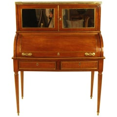 French 19th Century Brass and Mahogany veneered Directoire Style Cylinder Bureau