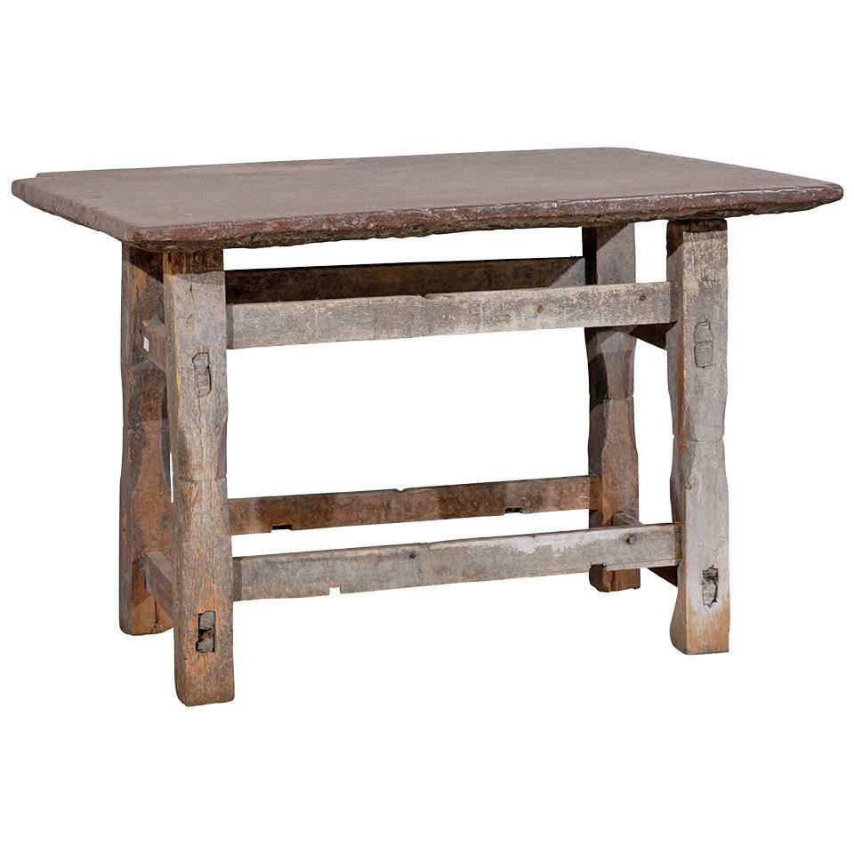 Swedish 17th Century Rustic Side Table With Stone Top For Sale