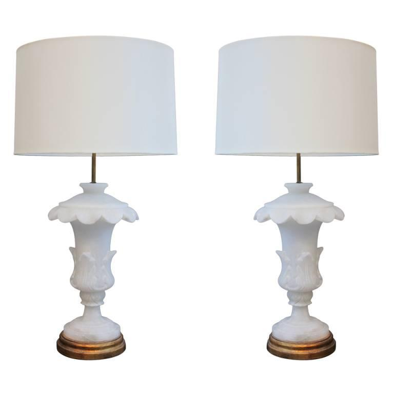 Pair of Large Alabaster Urn Lamps For Sale
