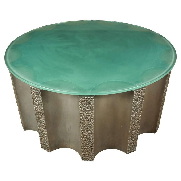 Impressive Drum-Shaped Fluted Coffee Table by Steve Chase For Sale