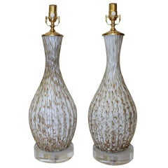 Pair of Italian Murano Glass White Table Lamps with Aventurine