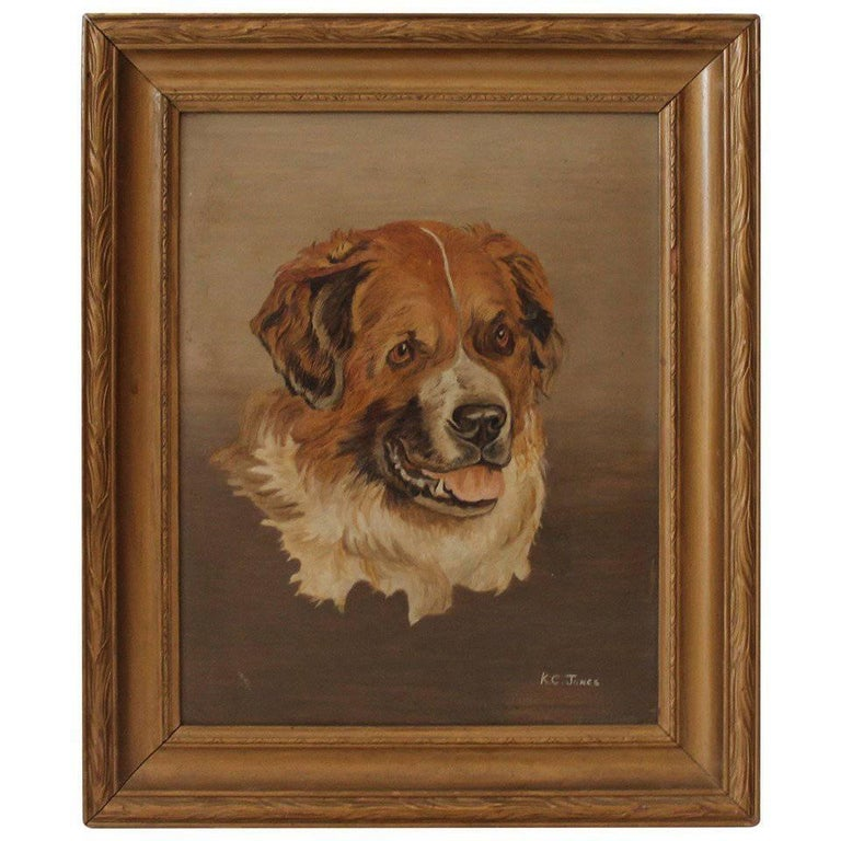 19th Century Bernese Mountain Dog Oil Painting For Sale