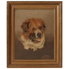 19th Century Bernese Mountain Dog Oil Painting