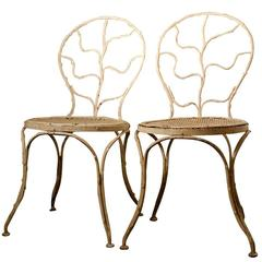"Two ""Giacometti"" Wrought Iron Side Chairs for Jean Michel Frank, 1935"