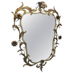 Italian Gold Leaf Mirror with Floral Motif