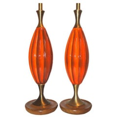 Pair of Midcentury Orange Lamps