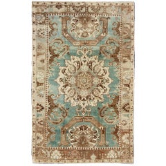 Unique Vintage Turkish Carpet with Geometric Design Inspired by Caucasian Design