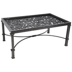 Polished Iron Coffee Table Base Made with 19th Century French Balcony Gate