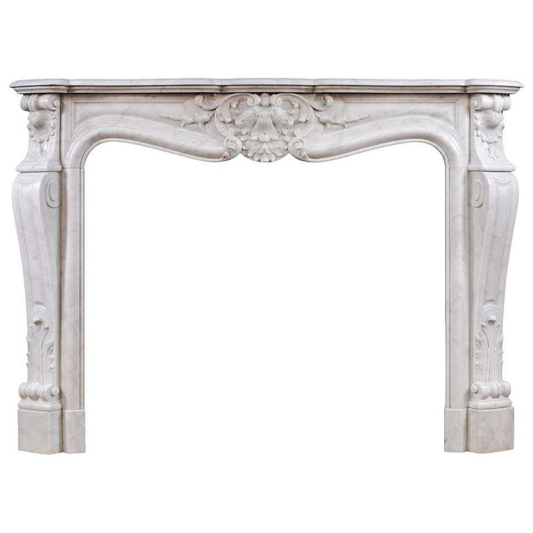19th Century French Louis Xv Style Antique Carrara Marble Fireplace Mantel For Sale At 1stdibs
