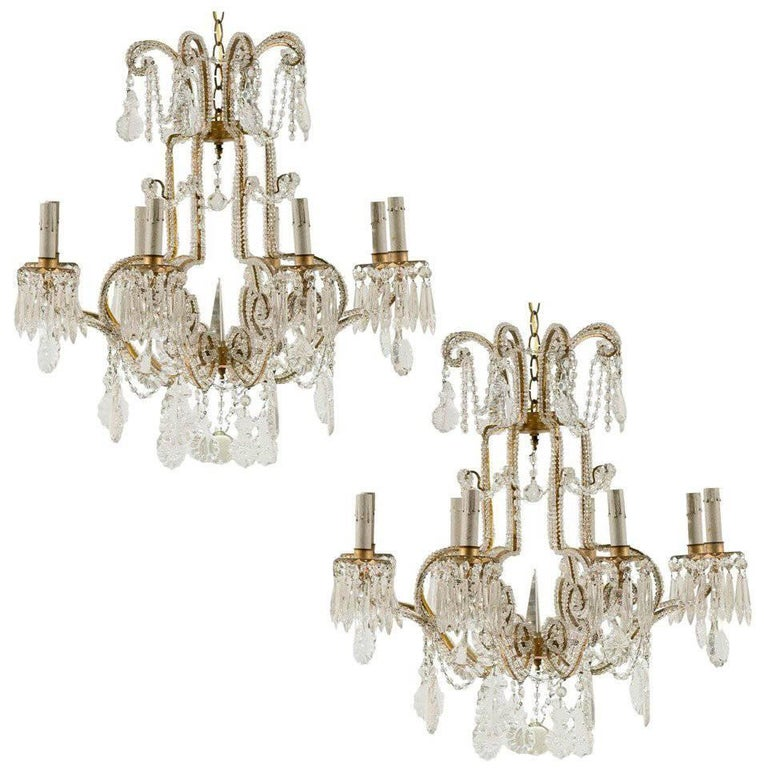 Pair of Italian Eight-Light Crystal Chandeliers