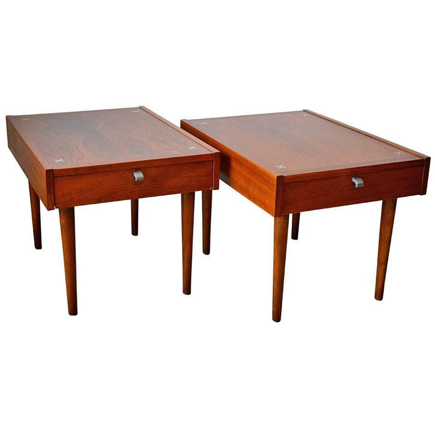 Pair of Walnut End Tables by Merton Gershun for American of