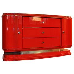 Red Art Deco Lowboard - Small Sideboard High Gloss Paintjob