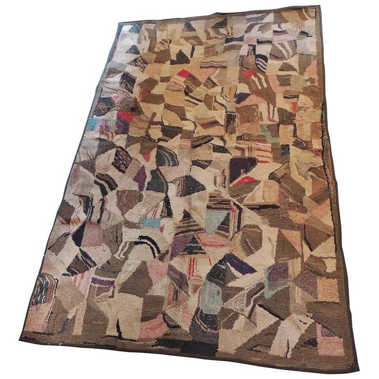 Crazy Quilt Pattern Large American Hook Rug in Brown and Pink