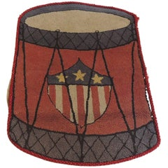Vintage Red and Black Drummer Hook Rug with American Flag Shield