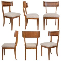 Scandinavian Modern Klismos Dining Chairs in Elm Set of Six