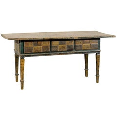 A Very Handsome 19th C. Spanish Table w/Drawers - In Great Rich Colors!