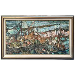 Oil Painting in a Mosaic Style 'Ships on the Water' Signed Russim