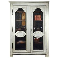 French Linen Cabinet with Chicken Wire Doors
