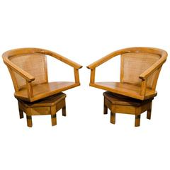 Midcentury Pair of Beech Swivel Chairs by Edward Wormley for Dunbar