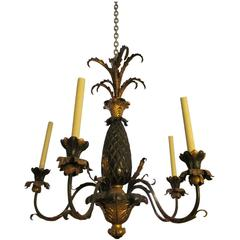 1930s Black Gold Five-Arm Chandelier Done in a French Pineapple Design