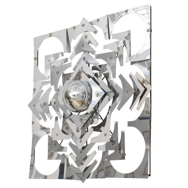 1970s, Mid-Century Modern, Pop Art, Polished Chrome, Square, 3-D Wall Sculpture