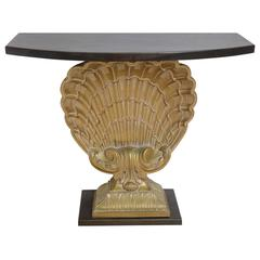 Hollywood-Regency Style Grosfeld House Scalloped-Shell Demilune Console Table