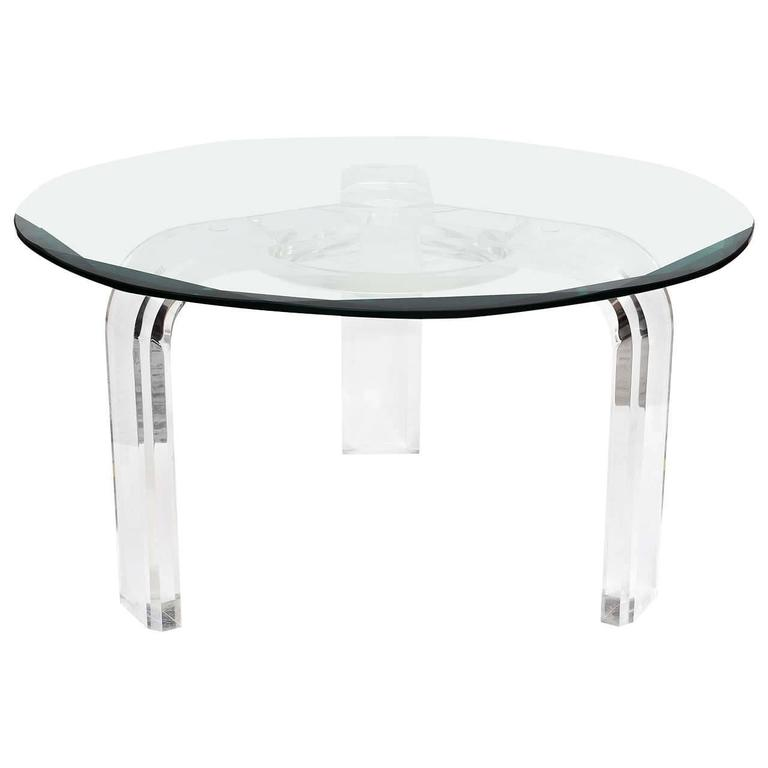Les Prismatiques Round Cocktail Coffee Table In Lucite And Beveled Glass For Sale At 1stdibs