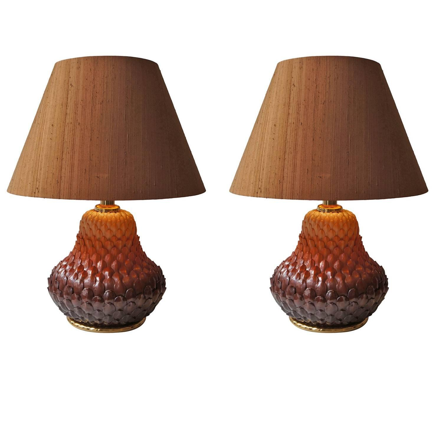 Pair Of Ceramic Table Lamps For Sale At 1stdibs
