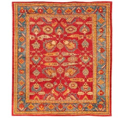 Traditional Design Antique Turkish Oushak Rug in Red, Blue and Orange