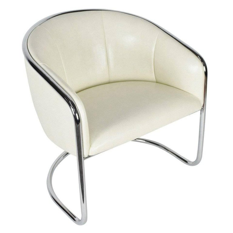 Thonet Barrel White Faux Snakeskin and Chrome Club Chair, circa 1950's  For Sale