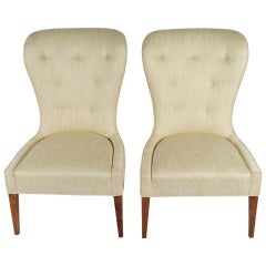 Pair of Modern Balloon Back Chairs in Silk Moire Fabric