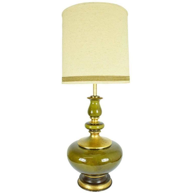 Beautiful Monumental Ceramic Glaze Lamp For Sale