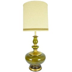 Monumental Ceramic Glaze Lamp in Green with Gold Flecking