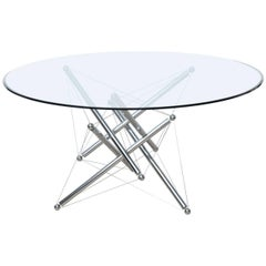 Italian Modern Chromed Steel and Glass Center Table, Theodore Waddell, Cassina