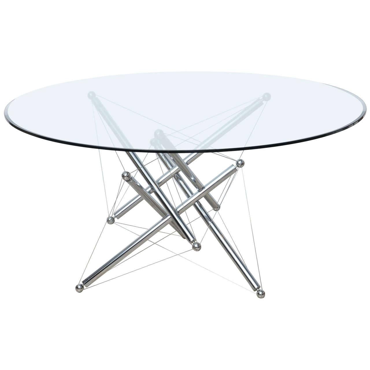 Italian Modern Chromed Steel And Glass Center Table, Theodore Waddell,  Cassina 1